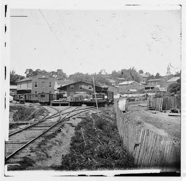 Warrenton Depot, on the Orange & Alexandria RR, in August 1862. Notice how little space there is for cars. This was a major supply point for Lee several times.