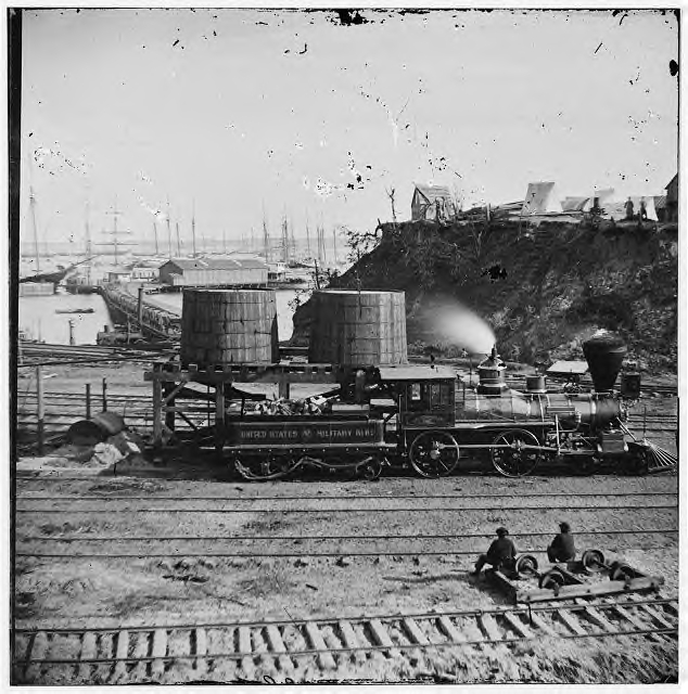 A clear view of a Union locomotive at City Point, Va. in 1865. This locomotive is very representative of all the locomotives used by both sides during the war.